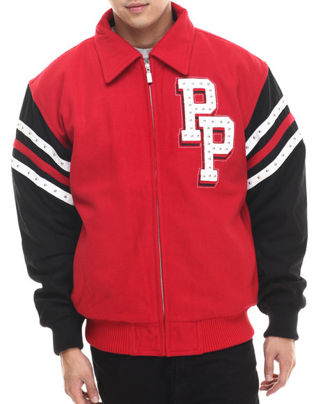 Pelle Pelle - Men Crimson Crimson Wool Chicago Pelle Pelle Jacket
