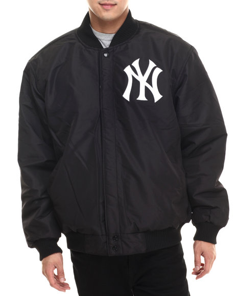 Ur-ID 199624 NBA, MLB, NFL Gear - Men Black New York Yankees Wool Varsity Jacket W/ Faux Leather Sleeve Detail (Reversible)