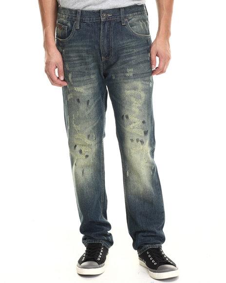 Parish - Men Dark Wash Acid Wash Denim Jeans