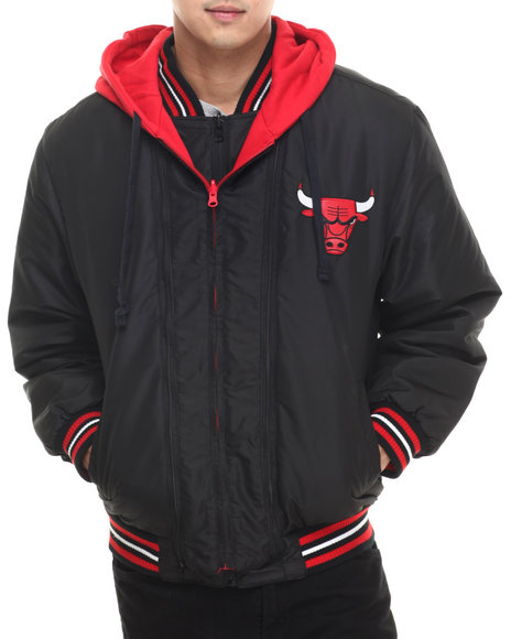 Nba, Mlb, Nfl Gear - Men Black Chicago Bulls Wool Varsity Hoody Jacket W/ Faux Leather Sleeve Detail (Reversible)