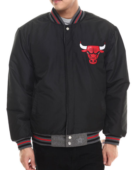 Nba, Mlb, Nfl Gear - Men Black Chicago Bulls Reversible Wool Team Varsity Jacket W/ Faux Leather Applique