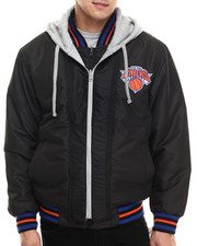 NBA, MLB, NFL Gear - New York Knicks  Wool Varsity Hoodie Jacket w/ faux leather sleeve detail (Reversible)