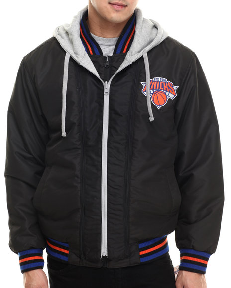 Ur-ID 199636 NBA, MLB, NFL Gear - Men Black New York Knicks  Wool Varsity Hoodie Jacket W/ Faux Leather Sleeve Detail (Reversible)