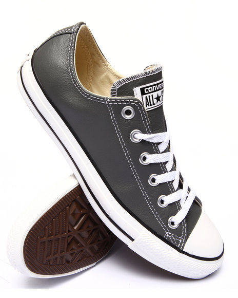 Converse - Men Charcoal Chuck Taylor All Star Leather Sneakers - $51.99