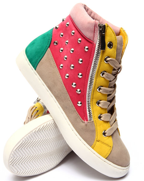 Fashion Lab - Women Red,Tan,Yellow Bryant High Top Zip Up Sneaker