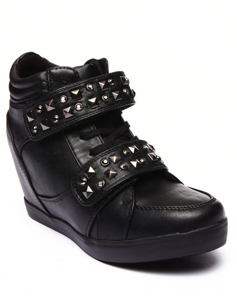 Fashion Lab - Women Black Locos Studded High Top Wedge Sneaker
