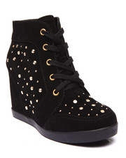 Fashion Lab - Frisco Studded Lace Up Wedge Sneaker