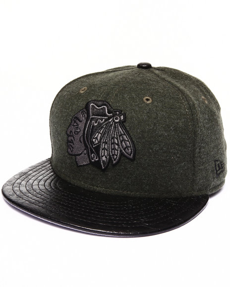 New Era - Men Olive Chicago Blackhawks Faux Leather Step Out 950 Strapback Hat