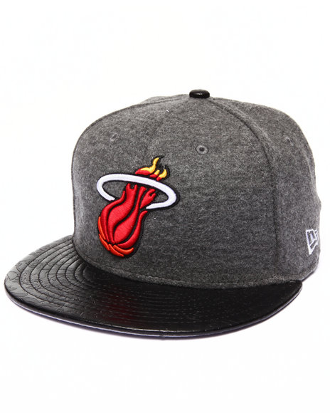 New Era - Men Grey Miami Heat Faux Leather Step Out 950 Strapback Hat