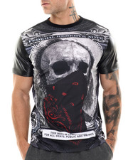 Men - Masked Sublimation/faux leather sleeve s/s tee