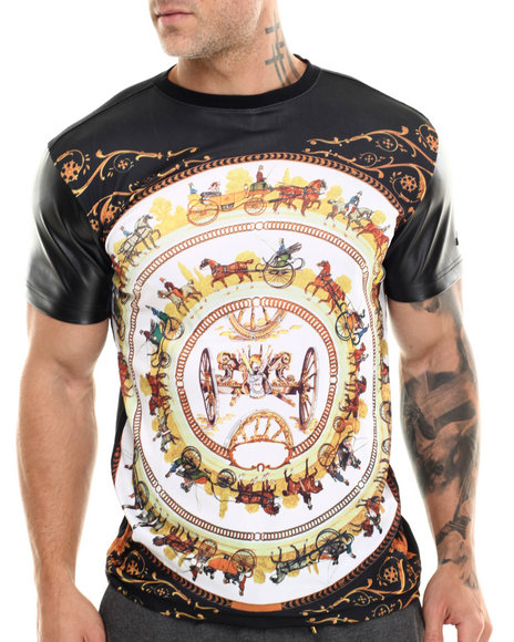 Akademiks - Men Black Carriage Sublimation/Faux Leather S/S Tee - $30.00