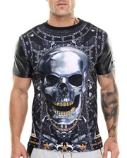 Men - Skull Sublimation/faux leather s/s tee