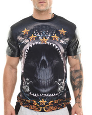 Akademiks - Skeleton Sublimation/faux leather s/s tee