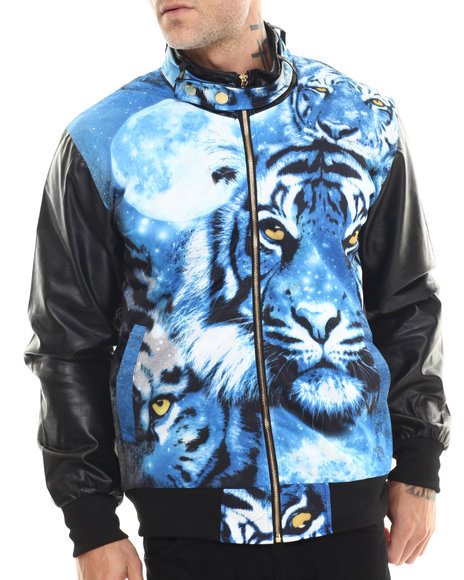Buyers Picks - Men Black Blue Tiger Sublimation Jacket W/ Faux Leatheer Fleeves
