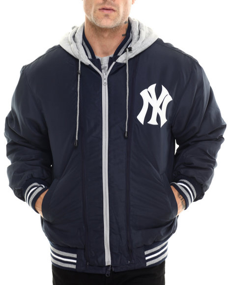 Nba, Mlb, Nfl Gear - Men Navy New York Yankees Wool Varsity Jacket W/ Faux Leather Sleeve Detail (Reversible)