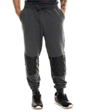 Men - Thompson Quilted faux leather trim sweatpants