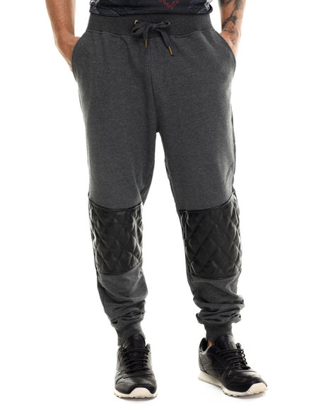 Akademiks - Men Charcoal Thompson Quilted Faux Leather Trim Sweatpants