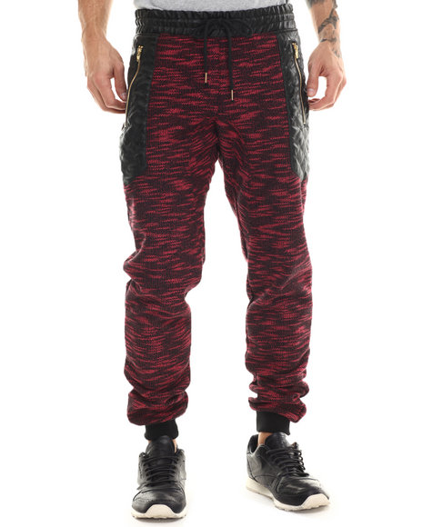 Buyers Picks - Men Red Marled Faux - Leather Trimmed Sweatpants