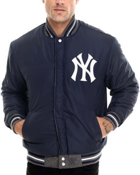 Nba, Mlb, Nfl Gear - Men Grey,Navy New York Yankees Reversible Wool Varsity Jacket  2-Tone