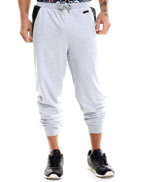 Akademiks - Men Grey Washington Ostrich Embosed Faux Leather Sweatpants - $23.99