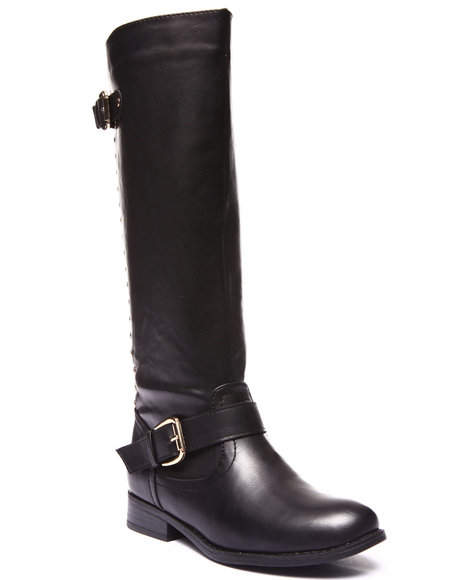 Fashion Lab - Women Black Highnoon Studded Back Zip Up Riding Boot - $37.99