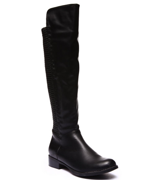 Fashion Lab - Women Black Caribu Over-The-Knee Woven Stretch Back Boot