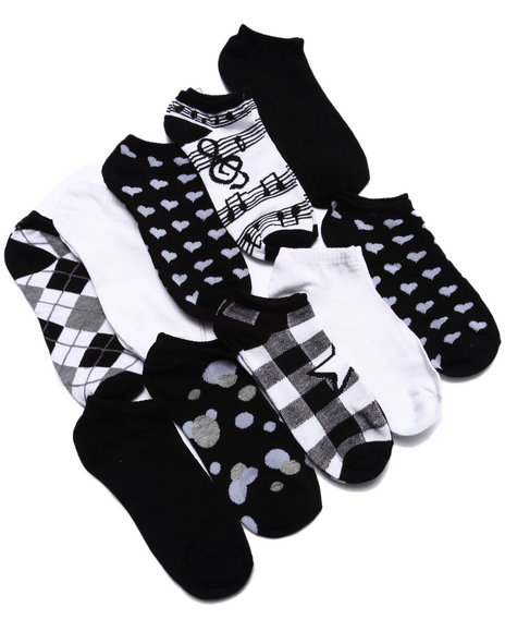 Drj Sock Shop Women Multi Pattern 10 Pk No Show Socks Black 9-11