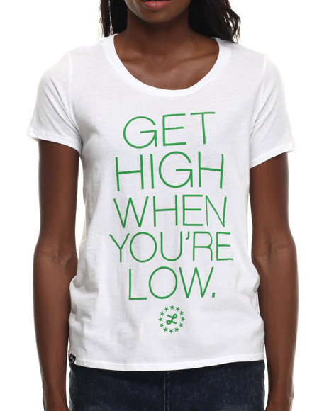 Lrg - Women White High & Low Bofriend Tee
