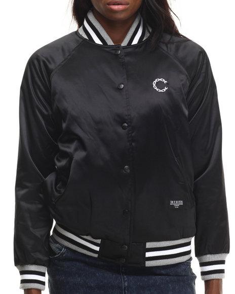 Crooks & Castles - Women Black Woven Cheer Squad Jacket - $68.99