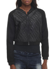Light Jackets - Dekode Quilted Faux Leather Bomber Jacket