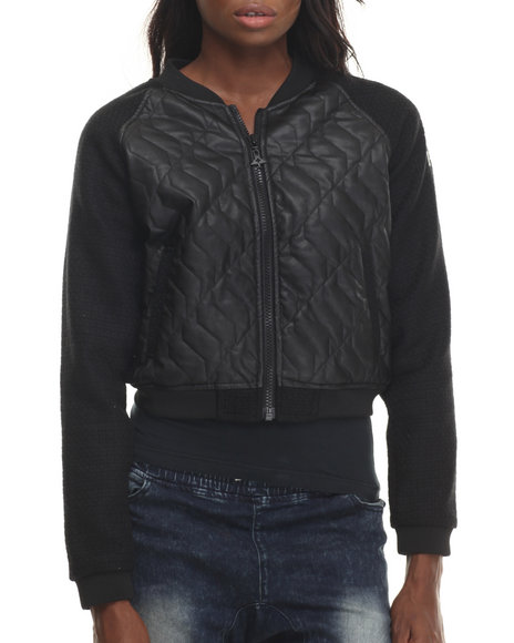 Lrg - Women Black Dekode Quilted Faux Leather Bomber Jacket
