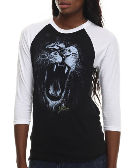 Lrg - Women Black Shadowline Lion Raglan Tee