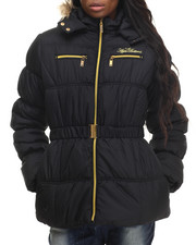 Apple Bottoms - Zip Trim Belted Puffer Jacket
