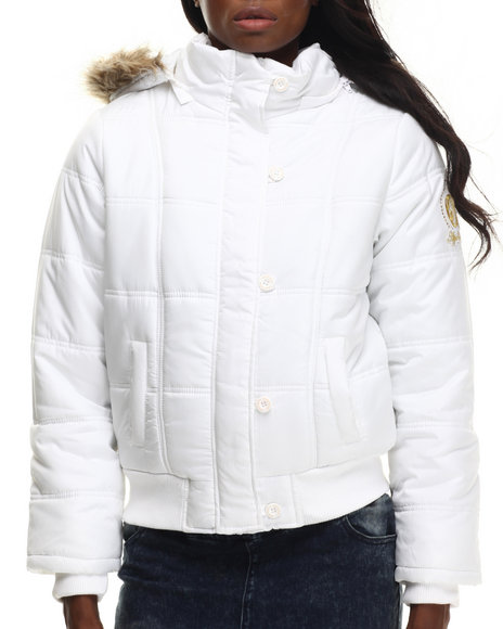 Apple Bottoms - Women White Hooded Puffer Jacket