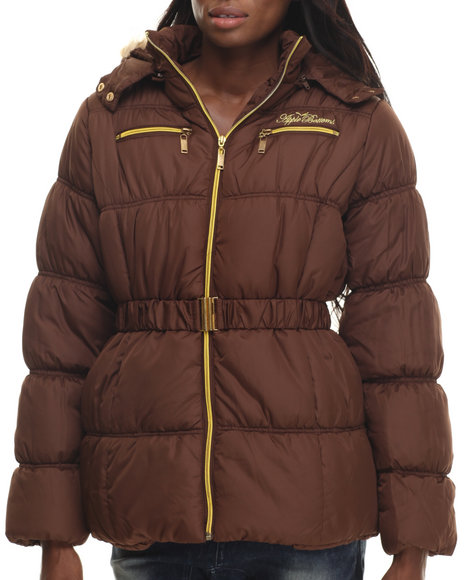 Apple Bottoms - Women Brown Fur Hood Belted Puffer Jacket - $26.99