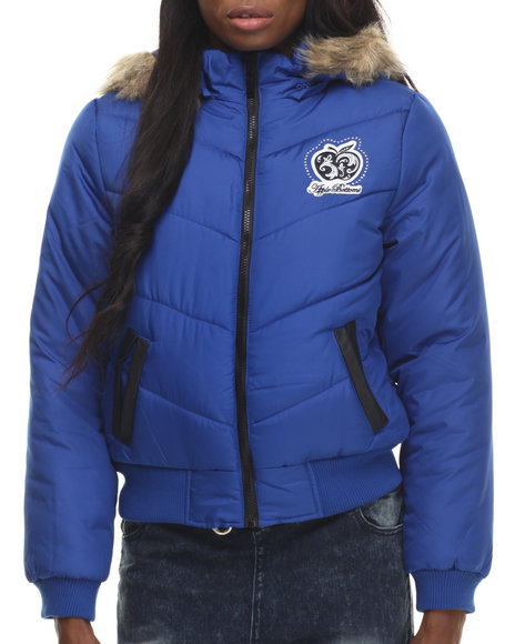 Apple Bottoms - Women Blue Hooded Puffer Jacket