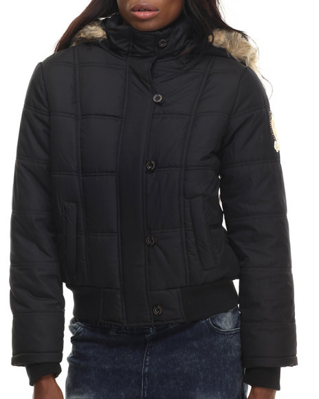 Ur-ID 199747 Apple Bottoms - Women Black Fur Hood Puffer Jacket