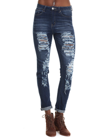 Basic Essentials - Women Dark Blue Back In A Flash Skinny Jeans W/Tears