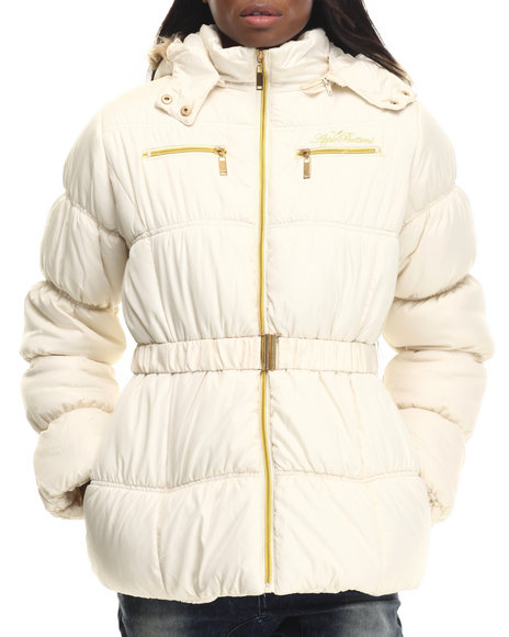 Apple Bottoms - Women Off White Belted Puffer Jacket