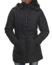 Apple Bottoms - Belted Long Puffer Jacket