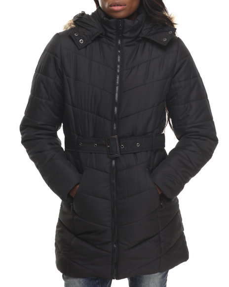 Apple Bottoms - Women Black Belted Long Puffer Jacket