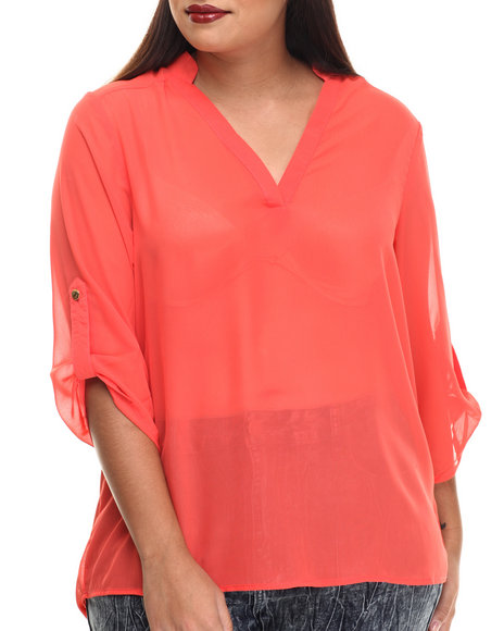 Ali & Kris - Women Coral Roll-Up Sleeve Chiffon Top (Plus) - $22.99