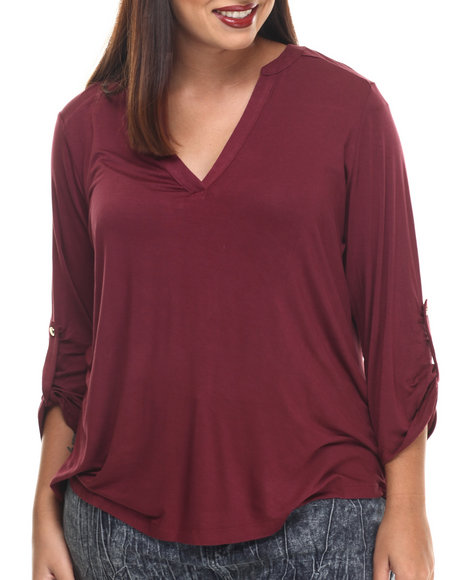 Ali & Kris - Women Dark Red Jersey Roll-Up Sleeve Top - $21.99