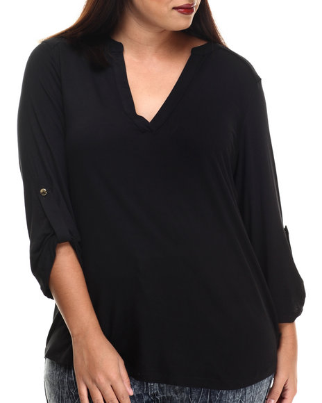 Ali & Kris - Women Black Jersey Roll-Up Sleeve Top