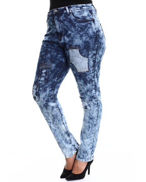 Basic Essentials - Women Medium Wash Patch Work Skinny Jean Pants W/Patch Detail - $34.99
