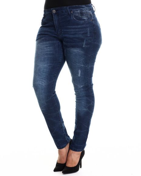 Basic Essentials - Women Dark Blue In These Blue Skinny Jeans (Plus)