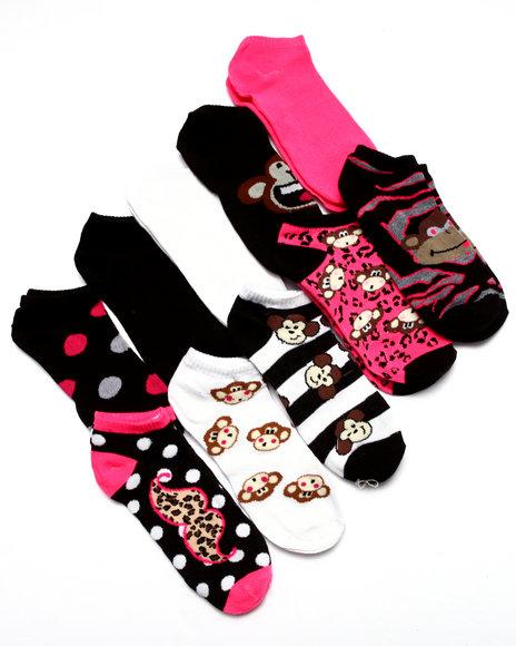Drj Sock Shop Women Crazy Monkeys 10 Pk No Show Socks Black 9-11