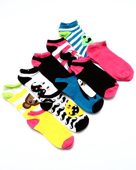 Drj Sock Shop Women Animal Mustache 10 Pk No Show Socks Multi 9-11