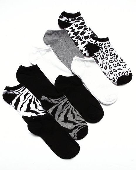 Drj Sock Shop Women Jungle Fever 10 Pk No Show Socks Black 9-11