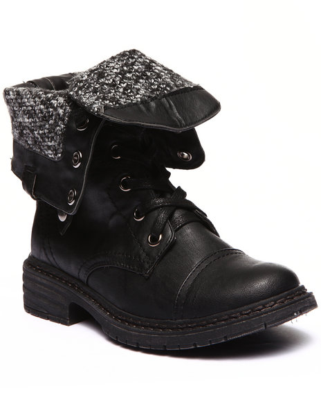 Fashion Lab - Women Black Crowley Lace Up Foldover Knit Inside Boot